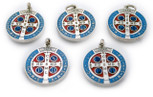 St. Benedict Medal with Blue and Red Enamel (Lot of 5)
