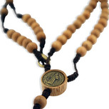 Wood St. Benedict Rosary Necklace with Clasp (Pine)
