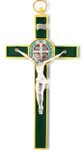 Saint Benedict Wall Crucifix with Colored Enamel (Gold-Green)