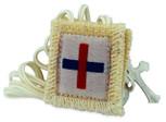 Authentic Catholic Scapular - 100% Wool (Trinity White Scapular)
