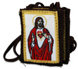 Authentic Catholic Scapular - 100% Wool (Sacred Heart w/ Brown Cord)