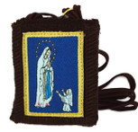 Authentic Catholic Scapular - 100% Wool (Our Lady of Lourdes w/ Brown Cord)