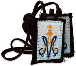 Authentic Catholic Scapular - 100% Wool (Children's Scapular w/ Brown Cord)
