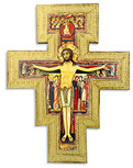 San Damiano Wall Cross with Gold Trim and Wall Hook - Made in Italy