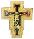Catholic Wall Cross with Gold Trim and Wall Hook - Made in Italy (Giotto)