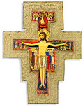 Catholic Wall Cross with Gold Trim and Wall Hook - Made in Italy (San Damiano)