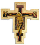 Large Catholic Wall Cross with Gold Trim and Wall Hook - Made in Italy (Giotto)