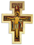 Large Catholic Wall Cross with Gold Trim and Wall Hook - Made in Italy (San Damiano)