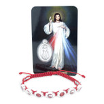 Catholic Adjustable Cord Bracelet with Colored Enamel (Divine Mercy)