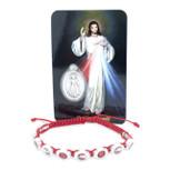 Catholic Adjustable Cord Bracelet with Colored Enamel (Divine Mercy)