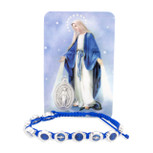 Catholic Adjustable Cord Bracelet with Colored Enamel (Immaculate Conception)