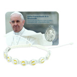 Catholic Adjustable Cord Bracelet with Colored Enamel (Pope Francis)