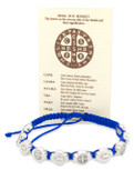 Catholic Adjustable Cord Bracelet with Woven Medals (Saint Benedict)
