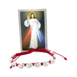 Catholic Adjustable Cord Bracelet with Woven Medals (Divine Mercy)