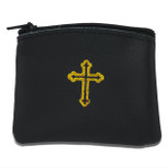 Genuine Leather Catholic Rosary Case (Black, 1 Pack)