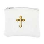 Genuine Leather Catholic Rosary Case (White, 1 Pack)
