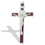 Deluxe Catholic Saint Benedict Wall Crucifix (Silver-Tone)
