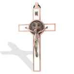 Deluxe Catholic Saint Benedict Wall Cross - Antique Copper Finish with White Enamel