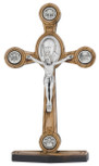 Tabletop Four Basilicas Crucifix Made of Genuine Olive Wood
