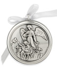 Silver-Plated Guardian Angel Crib Medal by Venerare