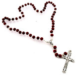 Deluxe Red Rose Scented Rosary by Vatican Imports