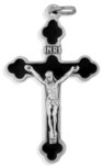 "1.5"" Latin-Style Crucifix with Colored Enamel and Silver Trim"