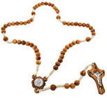 Our Lady of Grace Rosary with Genuine Olive Wood Beads