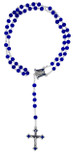 Blue Marian Rosary with Polished Glass Beads