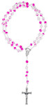 Catholic Rosary with Colored Glass Beads and Italian Crucifix