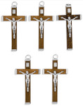 Traditional Wood Crucifix Pendant for Necklace or Rosary Use - 5 Pack