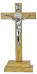 Olive Wood Altar Cross with Saint Benedict Medal