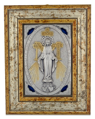 Beautiful Antique finish  Miraculous Medal Wall Shrine