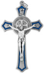 Silver Saint Benedict Cross with Blue Enamel