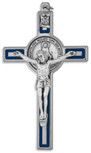 Marian Crucifix Pendant with Miraculous Medal and Blue Enamel