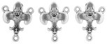 Traditional Fleur de Lis Rosary Center with Holy Trinity Symbol and Miraculous Medal (Pack of 3)