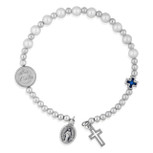 Spring-Style Rosary Bracelet with Miraculous Medal and Cross Charms