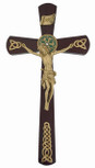 "12"" Celtic Wall Cross with Rosewood Veneer and Gold Accents"