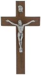 "8"" Beveled Walnut Crucifix with Antique Pewter Corpus"