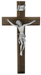 "10"" Beveled Walnut Crucifix with Antique Pewter Corpus"