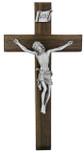 "10"" Beveled Walnut Crucifix with Antique Pewter Corpus"