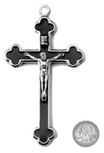 Traditional Latin Cross Pendant with Black Inlay