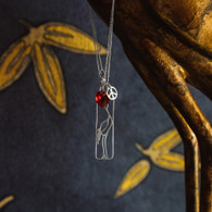 Peace • Love • Cranes silver pendant with red crystal
