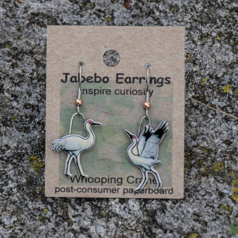 Whooping Crane upcycled earrings