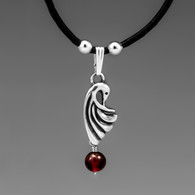 Crane wing pendant with garnet