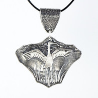 Fine silver crane pendant - wings out