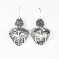 Dancing Crane fine silver earrings