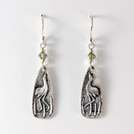 Fine Silver Crane Earrings with Swarovski Beads