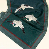 Three White Cranes silk scarf
