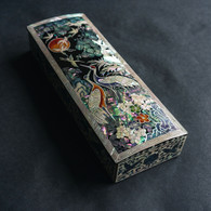 Large Lacquer Rectangular Box with  Seven Cranes