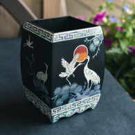 Square Lacquer Pencil Box with Eight Cranes